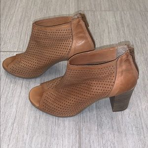 Kenneth Cole Open Toe Perforated Leather Booties